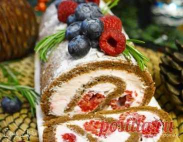 Шоколадный рулет с малиной, пошаговый рецепт, фото, ингредиенты - Екатерина Корженевская