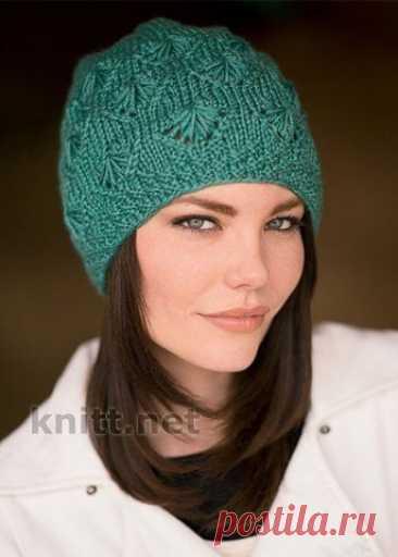 Красивая шапка на весну (Вязание спицами) – Журнал Вдохновение Рукодельницы