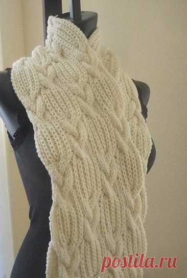 Плотный шарфик, вяжем спицами