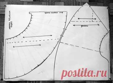 Итак, душегрея.  Мы изучили детали душегреи из Национального музея Республики Карелия и сделали выкройку. При ширине ткани 50 см было использовано примерно 175 см ее длины при условии, что детали были выкроены с минимальным количеством отходов. Лямки: длина 42 см, ширина 2 см.  Направление долевой нити обозначено стрелками.  Показать полностью…