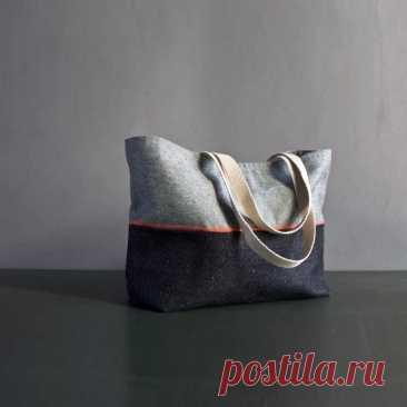 Как сшить двухцветную сумку-тоут с отделкой косой бейкой: мастер-класс — Мастер-классы на BurdaStyle.ru