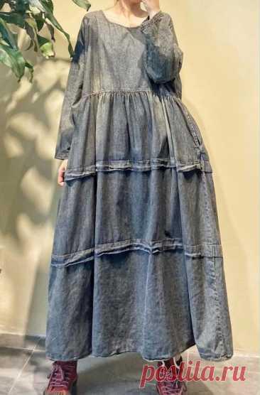 Womens cotton denim dress oversized dress retro long dress   Etsy