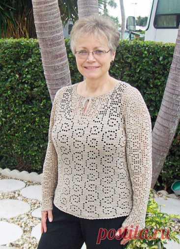 Осенние пуловеры с филейным узором крючком – 3 схемы с описанием - Пошивчик одежды
