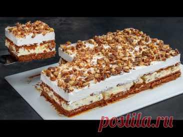 """Торт из печенья """"Твикс""""- станет вашей слабостью. Без духовки, быстро и просто"""
