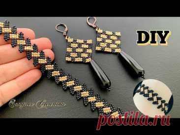 Beaded Jewelry set || checkered earrings || vine beaded bracelet