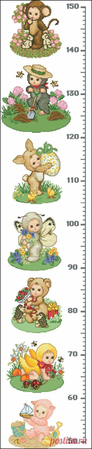 схема для вышивки крестом Ростомер с чудными детками