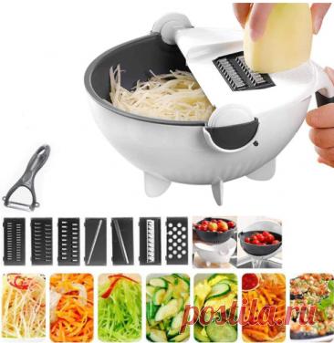 Инновационное решение для вашей кухни! Многофункциональная тёрка 9 в 1 - это уникальное устройство, которое совмещает в себе сразу несколько необходимых инструментов для кухни. Меняя насадки в верхней части устройства, вы можете получить овощи и фрукты необходимой формы. Если вам нужно слить лишнюю жидкость после терки кабачков или других водянистых овощей, то вам достаточно просто наклонить устройство над раковиной.  | быстрые рецепты
