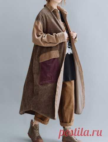 Women Corduroy coat Cotton Windbreaker Large Size coat | Etsy