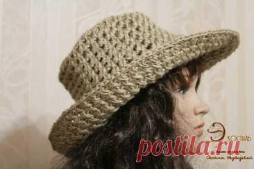 Шляпа с широкими полями, вязаная из джута | Вязаные крючком аксессуары