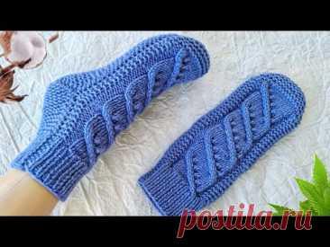 Носки- следки на двух спицах БЕЗ ШВА. Носки с пяткой бумеранг.