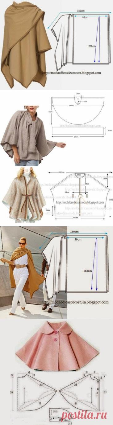 Los patrones simples de los ponchos otoñales