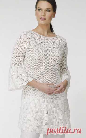 Летнее платье-туника Ажурка с рукавами 3/4 спицами – схемы с описанием — Пошивчик одежды