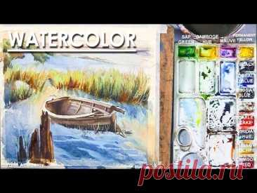 Watercolor Composition : Riverside Boat Landscape painting