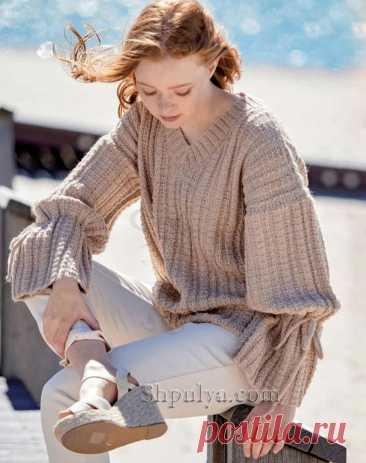 Пуловер с v-образным вырезом и завязками на рукавах — Shpulya.com - схемы с описанием для вязания спицами и крючком