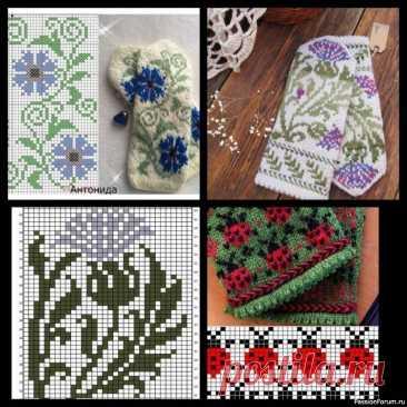 Схемы жаккардов для варежек | Вязание для женщин спицами. Схемы вязания спицами