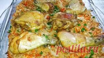 Рис с капустой и курицей в духовке