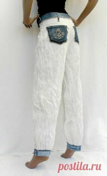 Джинсы из огрызков Модная одежда и дизайн интерьера своими руками