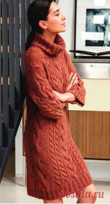 Платье с косами и высоким воротом (Вязание спицами) – Журнал Вдохновение Рукодельницы