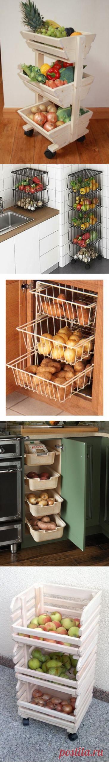 12 идей - как организовать места хранения овощей и фруктов на кухне. Идеи для воплощения. | Юлия Жданова | Яндекс Дзен