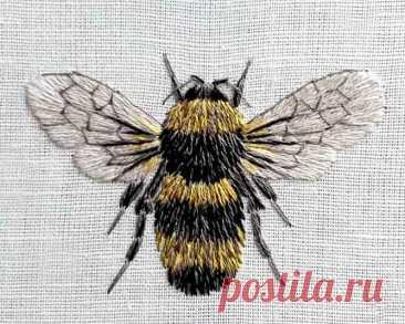 Вышиваем гладью пчелу! | ВЕРА БУРОВА, канал про вышивку | Яндекс Дзен
