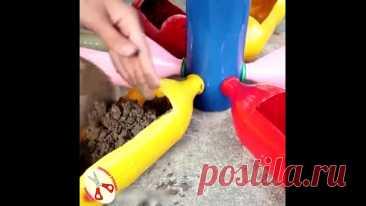 Интересная идея Висячего сада из пластиковых бутылок