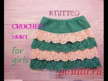 Summer skirt for the girl a hook, for beginners of # knitted crochet skirt for girls - YouTube