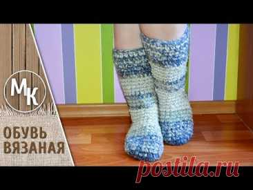 Knitted high boots a hook from a self-made yarn. Utilitarian needlework for beginners.