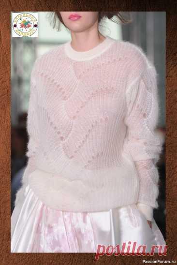 ПРИКОСНОВЕНИЕ НЕЖНОСТИ – ПУЛОВЕР ИЗ КИД МОХЕРА ОТ ANTONIO BERARDI. | Вязание для женщин спицами. Схемы вязания спицами