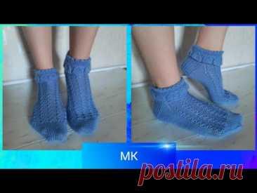#носкиспицами  Мастер класс /красивые ажурные носки с рюшей