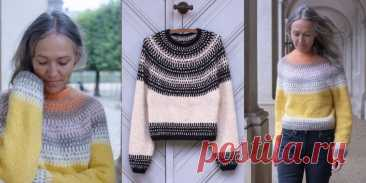 Пуловер с круглой кокеткой Badger and bloom - Вяжи.ру