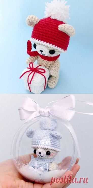 Вязаный новогодний мишка | Амигуруми крючком схемы и описания