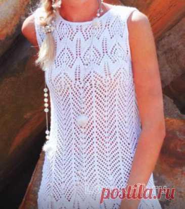 Вязаное платье без рукавов с узором схема спицами