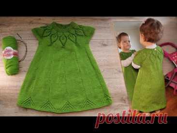 Круглая кокетка «Листья» спицами для детского платья (часть 3)🦚 Baby Dress with Round Yoke ☘