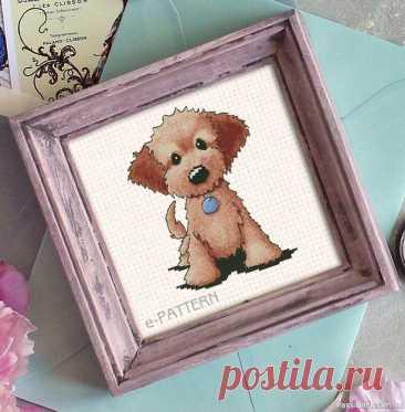 """Бесплатная схема вышивки крестом """"Собака с голубой подвеской""""   Вышивка крестом"""