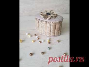 Шкатулочка из кусочков картона, обрезка ткани и джута - YouTube