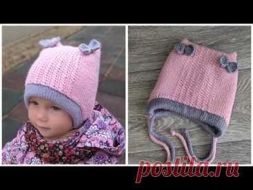 Двойная детская шапка с ушками спицами.
