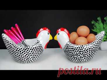 Hen shape spoon holder Showpiece making at home    Gift item showpiece making