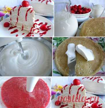 Блинный торт. А сегодня – блинный торт... а вкусный какой! Время приготовления...   Вкусные рецепты Блинный торт. А сегодня – блинный торт… а вкусный какой! Время приготовления: 35 минут + 1 час на охлаждение Порций: