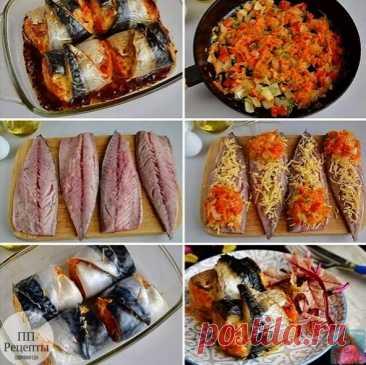 Готовим рулеты из скумбрии с овощами  Сохрани, чтобы приготовить   Ингредиенты:  Скумбрия — 2 шт. Сыр — 100 г Лук репчатый — 1 шт. Морковь — 1 шт. Чеснок — 1 зубчик Болгарский перец — 0,5–1 шт. Зелень — по вкусу Соль — по вкусу Перец черный молотый — по вкусу Растительное масло — 2–3 ст.л.  Приготовление:  1. Подготовьте продукты. Скумбрию полностью разморозьте при комнатной температуре. 2. Очистите овощи, порежьте лук и болгарский перец кубиками, морковь натрите на крупно...