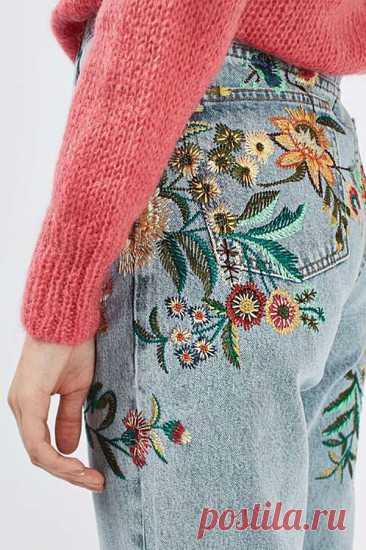Разнообразный декор джинсов: вышивка, роспись, кружево | Журнал Ярмарки Мастеров