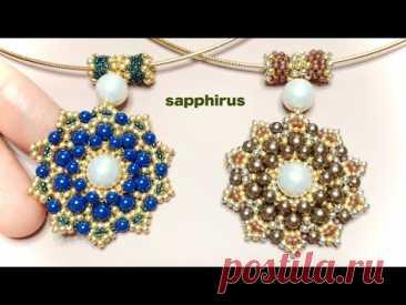 【ビーズステッチ中級】オメガネックレスのペンダントトップ☆作り方 /DIY/Omega necklace/Pendant/Peyote stitch/Tutorial/Seed bead/Pearl