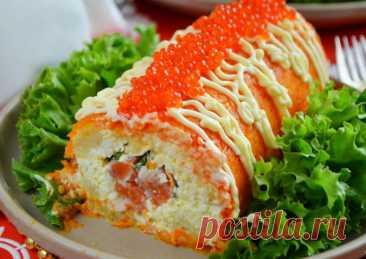 """Бесподобно вкусный салат-рулет """"Царский"""" с красной рыбой Рецепт приготовления вкуснейшего салата Царский с красной рыбой и красной икрой на праздничный стол."""