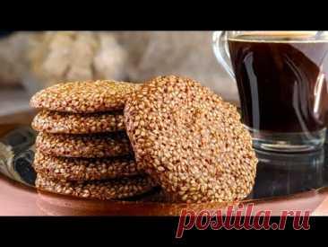 Хрустящее печенье без муки: 3 ингредиента! С кунжутом ♥