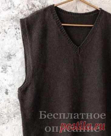Простая безрукавка спицами для мужчин,  Вязание для мужчин спицами Мужская безрукавка от@kate_kost_knitРасчеты приведены для размера S/M: ширина изделия 50см; длина по спинке 64см Для вязания безрукавки вам