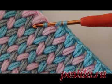 Простое вязание крючком детское одеяло зигзагообразным узором с шипами для начинающих