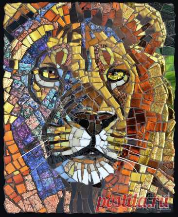 Lion Glass Mosaic by Cynthie Fisher Lion Glass Mosaic Painting by Cynthie Fisher