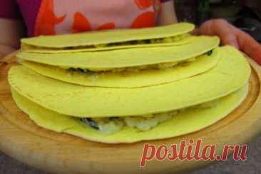 Тортилья с фетой и шпинатом   Вкусные кулинарные рецепты