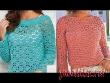 Женские пуловер крючком Схемы - Women's Pullover Crochet Pattern