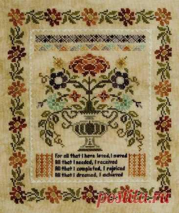 Blooming Bouquets 1 Thankful - cross stitch pattern by Jeannette Douglas