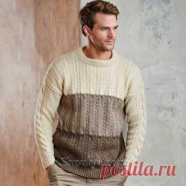 Разноцветный мужской пуловер с косами — Shpulya.com - схемы с описанием для вязания спицами и крючком